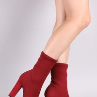 Bamboo Ribbed Knit Pointy Toe Suede Chunky Heeled Booties
