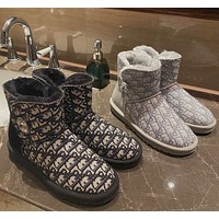 UGG x Dior New Snow Boots Women's Sheepskin Fleece Rhinestone Buckle Thick Sole Warmth Short-tube Cotton Shoes Waterproof and Non-slip