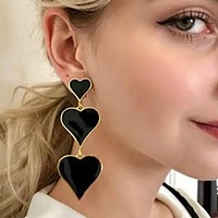 Temperament Dropping Oil Heart Dangle Earring for Woman Vintage Multi Layers Statement Drop Earrings Girls Party Jewelry Brincos