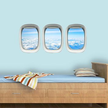 Airplane Window View Wall Decals PPW37