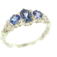 Ladies Solid Sterling Silver Natural Tanzanite English Victorian Trilogy Ring - Size 11 - Finger Sizes 5 to 12 Available