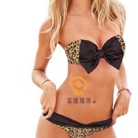 Sexy Leopard Print Bikini Push up Bandeau Bow Tie Top Bathing Suit Swimsuit (Large (US6))