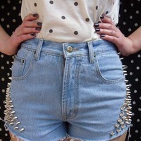 90s Grunge Silver Spike Studded High Waisted Denim Shorts from SianVictoriaBoutique