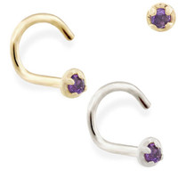 14K real gold (Nickel free) nose screw with 1.5mm Amethyst gem