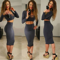 2016 Autumn Winter Women Sexy Two Piece Dress V-neck Long Sleeve 2 Piece Outfits Bodycon Party Dresses