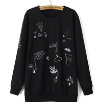 Printed Sweatshirt in Black