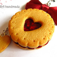 Kawaii cute handmade polymer clay butter cookie cherry jam heart bowknot cell phone strap charm