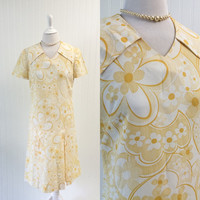 1960s vintage yellow & white op art floral midi dress Mod drop waist pleated skirt // collar psychedelic // size M