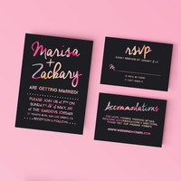 Printable Wedding Invitation Set - Bold Watercolor Type Invite, RSVP, Details Card - DIY Digital Ready to Print