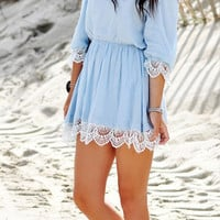 Strap Lace Patchwork 3/4 Sleeve Dress