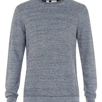 Denim Blue Ribbed Crew Neck Sweater - New This Week - New In