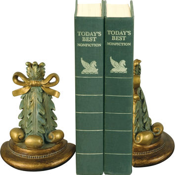0-165847>Pair Thyme Bookend Green/Gold