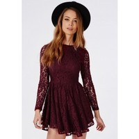 Curve Hem Lace Skater Dress Burgundy - Dresses - Skater Dresses - Missguided