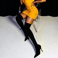 Fashion Stretch Fabric Sock Boots Pointy Toe Over The Knee Heel Thigh High Pointed Toe Woman Boot