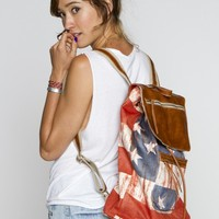 American flag leather flap backpack