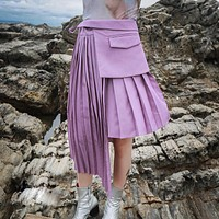 2020 new women's pleated suit skirt asymmetric short skirt