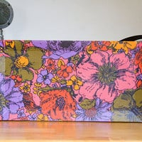 Vintage Floral Fabric Covered Vanity Tray - Floral, Bright, Retro, Groovy