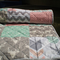 Baby quilt,peach,coral,mint green,grey,Baby girl bedding,Patchwork,chevron,deer,arrows,Spoonflower,organic,woodland,toddler,stag,Rustic Lass