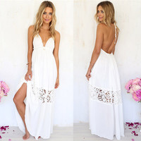 2016 Women Summer Sexy Lace Packwok Hollow Out Strapless Deep V-neck Beach White Casual Backless Boho Long Maxi Dress CL2626