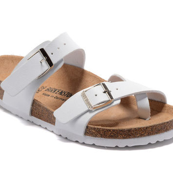 2017 Birkenstock Summer Fashion Leather Cork Flats Beach Lovers Slippers White Casual Sandals For Women Men Couples Slippers