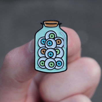 Jar of Eyeballs enamel pin