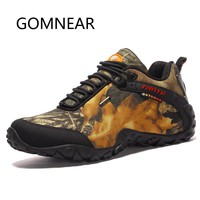 GOMNEAR Waterproof Canvas Hiking Shoes for Men Anti-skid Breathable Hunting Trekking Shoes Fishing Camping Climbing Shoes Rubber