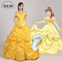 Free Shipping Beauty And The Beast Belle Golden Costume For Women Party Girl Long Cosplay Dress Cos Custom Made