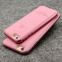 baby pink or black leather aluminum iPhone case