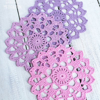 Crochet doily coasters, Wedding table decor, Large doily set, Set of cup coasters, Lilac and purple cotton doily, Crochet coasters
