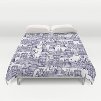 Doctor Who Toile de Jouy | 'Walking Doodle' | Blue Duvet Cover by Sharon Turner