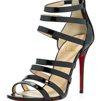 Christian Louboutin Mariniere Red Sole Patent Cage Bootie, Black