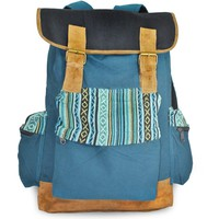 Mato Rucksack Backpack Boho Bohemian Canvas Daypack Laptop Shoulder Bag Blue