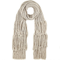 Cream chunky knitted tassel scarf - scarves - accessories - women