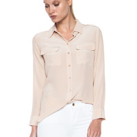 Slim Signature Silk Blouse in Nude