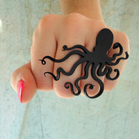 An Octopus Love Affair Ring Black Acrylic by CABfayre on Etsy