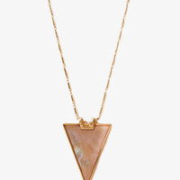 FOREVER 21 Shell-Plated Triangle Necklace Pink/Gold One