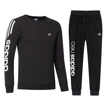 ADIDAS 2018 autumn and winter new casual outdoor sportswear two-piece Black