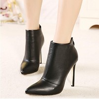 Leather Zipper Women Stiletto High Heels Shoes
