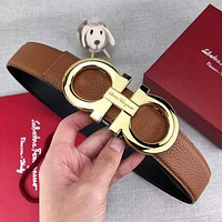 Ferragamo Fashion Woman Men Classic Smooth Buckle Belt Leather Belt With Box
