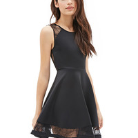 Lace Sleeveless Backless Mini Skater Dress