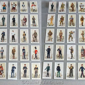 Vintage Players Uniforms of the Territorial Army Full Complete Set of 50 Cigarette Cards in Plastic Sleeves Issued in 1939 (ref: 5011)