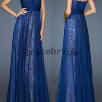 dark blue chiffon dresses with unique sequins floor-length bridesmaid gowns custom long prom dresses cute sweetheart neck homecoming dress