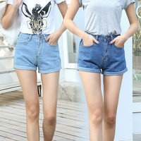 Classic High Waist Denim Shorts Women Casual Loose Hin Thin Shorts Jeans Curl Plus Size Fashion Shorts Feminino Faldas Y Shorts