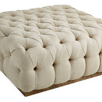Tufted Cocktail Ottoman, Natural, Ottomans