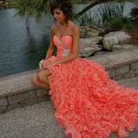 Ball Gown Sweetheart High-low Asymmetrical Prom Dress from Cute Dress