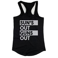 Sun's Out Guns Out Women's Black Tanktop Workout Tank Summer Beach Wear