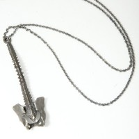 Supermarket - spine necklace - oxidized white brass from Lillian Crowe made in New York City