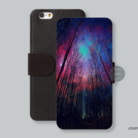 Cloud forest iPhone 6 case Leather Wallet iPhone 6 plus case, Wallet cover iPhone 5s case iPhone 5c case Galaxy s4 s5 Note 4  - C00121