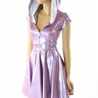 Lilac Purple Holographic Hoodie Skater Dress with Cap Sleeves, Flashbulb Hood Liner & Front Zipper