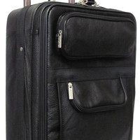 Traveling Leather BLACK LEATHER CARRY ON SUITCASE